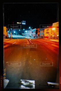 夜,屋外,散歩,オレンジ,明るい,通り,街路灯