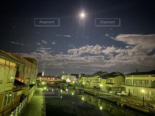 自然,風景,空,建物,夜,屋外,雲,道路,水面,家,月,道,満月