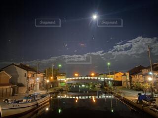 自然,風景,空,屋外,ボート,水面,月,満月,明るい,街路灯