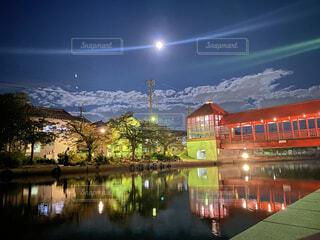自然,風景,空,夜,屋外,幻想的,川,水面,反射,光,家,月,満月,明るい