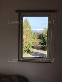 屋内,景色,道,絵画,美瑛,窓からの景色,晩夏