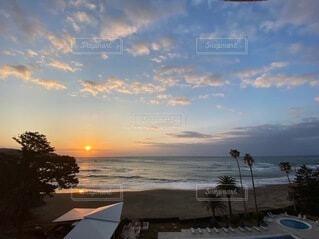 空,屋外,太陽,ビーチ,雲,砂浜,水面,海岸,景色,樹木,朝,ヤシの木,日の出