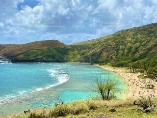 自然,風景,空,屋外,湖,ビーチ,雲,島,波,水面,山,草,樹木,ハワイ