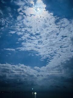 自然,風景,海,空,屋外,雲,飛行機,船,月,くもり,灯