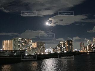 自然,風景,空,夜,屋外,川,水面,都会,月