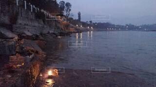 自然,空,屋外,湖,ビーチ,水面,夜明け,リシケシ,沐浴,ガンジス川,Ganga,Rishikesh
