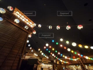 空,温泉,夜,東京,屋台,提灯,祭り,明るい,江戸,縁日,テキスト,大江戸温泉物語