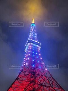 風景,空,東京タワー,夜,夜空,東京,青,タワー,明るい,カラー
