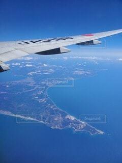 風景,海,空,青空,飛行機,翼