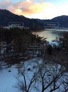 自然,風景,空,雪,屋外,湖,水面,山,樹木