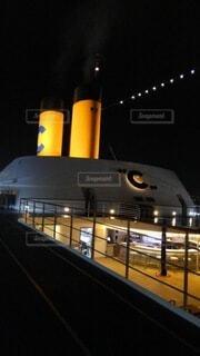 夜景,船,デッキ,オレンジ,旅行,煙突,クルーズ