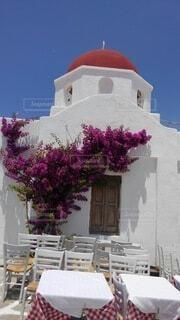 建物,花,夏,屋外,ピンク,赤,白,窓,テーブル,教会,ギリシャ,ブーゲンビリア
