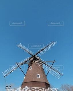 空,公園,屋外,青,風車