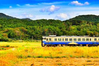 緑豊かな緑のフィールドを介して旅行青と白の電車の写真・画像素材[1468966]