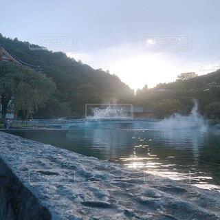 自然,空,屋外,湖,雲,川,水面,山,滝,樹木