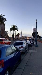 夕暮れ,車,アメリカ,観光,都会,サンフランシスコ,通り,ダウンタウン,カリフォルニア