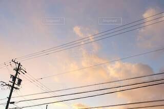 空,屋外,雲,電線,夕空,景観,電線路