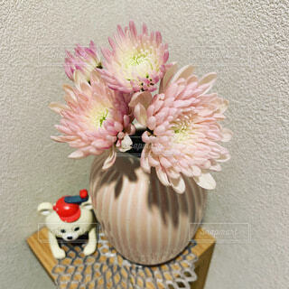 花,リビング,ピンク,花瓶,置物,グラデーション,飾り棚