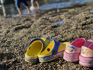 公園,靴,屋外,サンダル,池,地面,履物