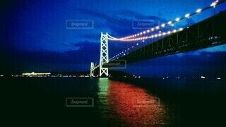 明石海峡大橋の夜景の写真・画像素材[4873798]