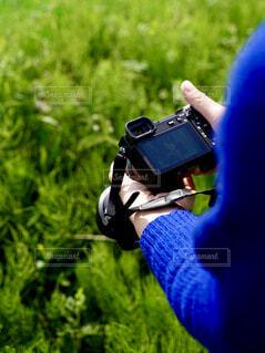 カメラの手持ち撮影で背面モニターを確認の写真・画像素材[4920974]