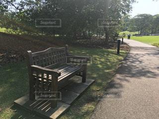 フェンスの横にある空の公園ベンチの写真・画像素材[787224]
