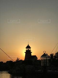 夕日,灯台