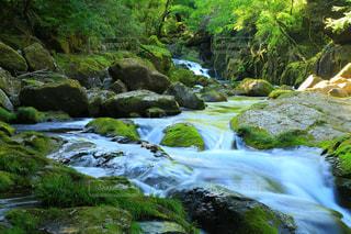 岩が多い崖の上の大きな滝の写真・画像素材[1180507]