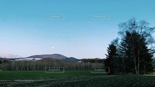 自然,風景,空,屋外,山,景色,草,樹木,月,満月,北海道の4月