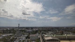 佐賀市を高い所から遠く普賢岳が見えます。の写真・画像素材[4884252]