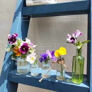 小瓶に生けた春の花たちの写真・画像素材[4875686]