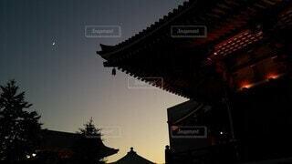 自然,風景,空,神社,夕暮れ,月,コントラスト