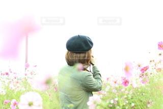 コスモス畑を撮影しながら散歩している女性の写真・画像素材[4885357]