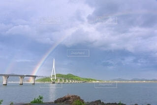 大橋に架かるダブルレインボーの写真・画像素材[4905355]