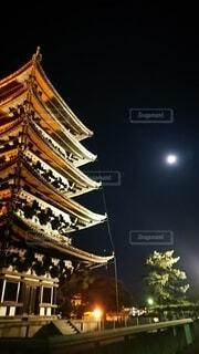 自然,風景,空,五重塔,月,旅行,奈良,月夜,寺