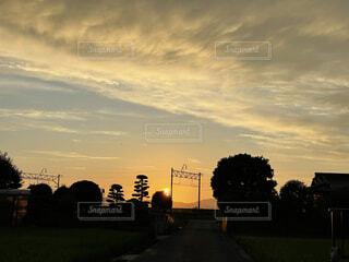 都市に沈む夕日の写真・画像素材[4875566]