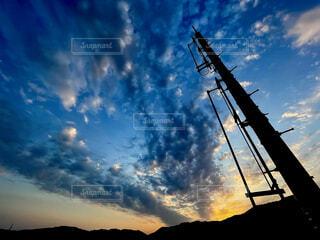 空,雲,朝焼け,電柱