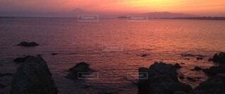 富士山と夕陽の写真・画像素材[4875457]