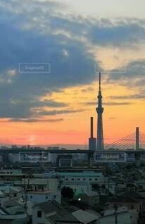 自然,空,建物,屋外,雲,夕暮れ,タワー,都会,高層ビル
