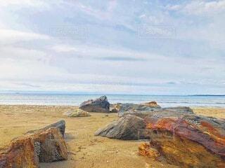 海の近くの岩の近くの写真・画像素材[4874507]