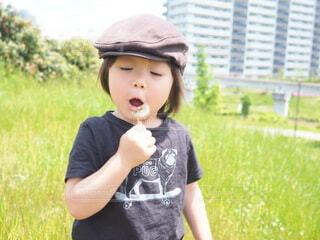草むらの中に立っている男の子の写真・画像素材[4884916]