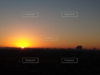 空,屋外,太陽,雲,朝焼け,日の出,名古屋,摩天楼