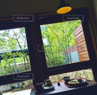 食卓,屋内,庭,緑,窓,レトロ,家,テーブル