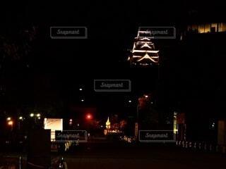 空,夜,夜景,屋外,城,熊本,熊本城,街路灯