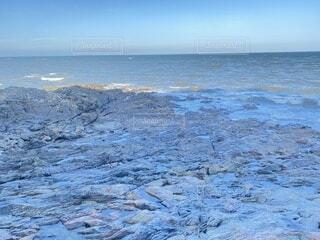 自然,風景,海,空,冬,屋外,ビーチ,青,波,水面,海岸,岩