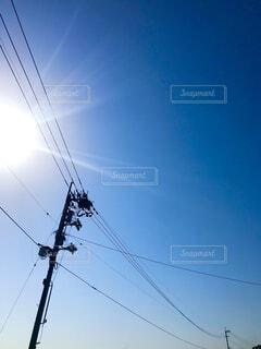 空,屋外,雲,晴れ,青い空,電柱,電線,電信柱,秋の空,雲ひとつない,晴れた空