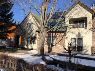 空,建物,冬,雪,屋外,窓,家,古い,樹木