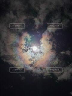 夜空,雲,虹,暗い,星,月,満月,彩雲,にじ