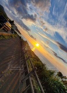 自然,海,空,夕日,屋外,ビーチ,雲