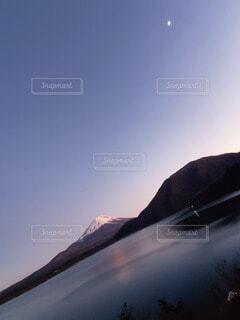 自然,空,夕日,富士山,屋外,湖,月,夕陽